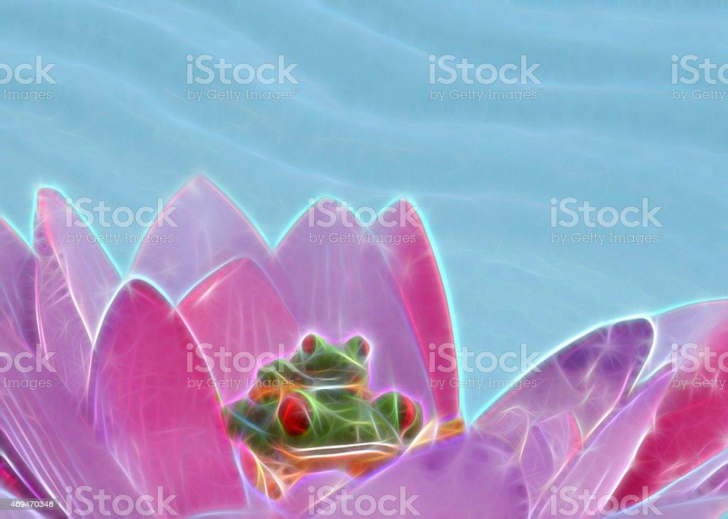 Rotaugenfrosch mit Nachwuchs in einer Seerose stock photo