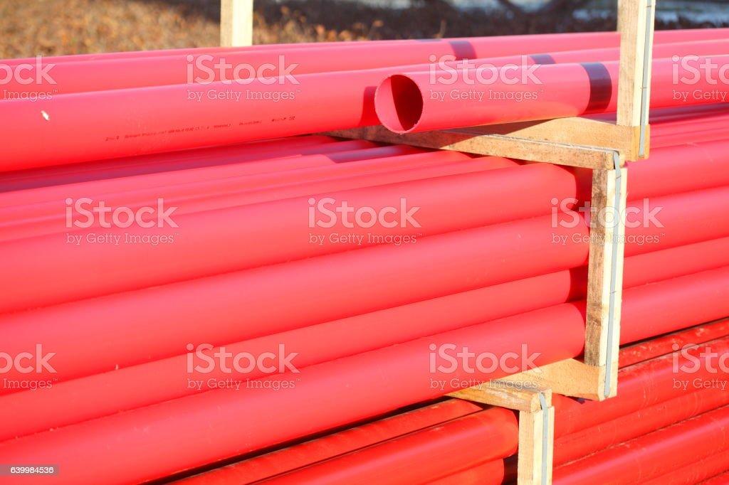 Rote Platikrohre stock photo