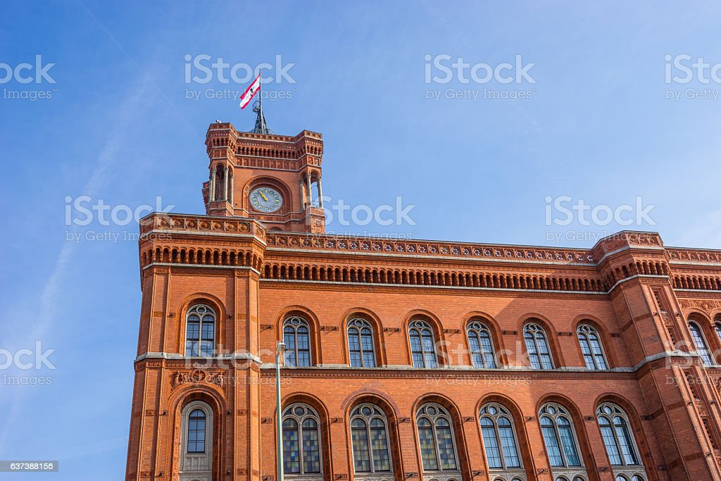 Rotes Rathaus (Red City Hall), located in the  Alexanderplatz stock photo