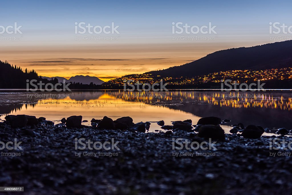Rotevatnet at sunset, Volda stock photo