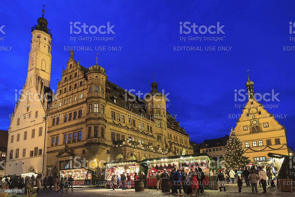 Rothenburg ob der Tauber at Christmas, Germany stock photo