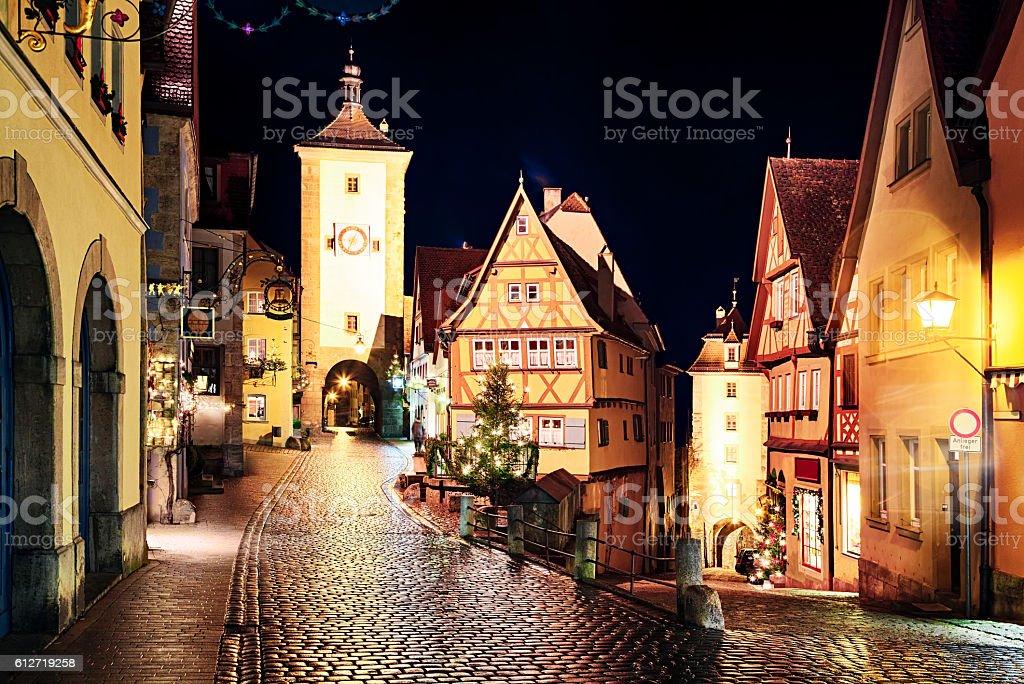 Rothenburg ob der Tauber at New Year night, Bavaria, Germany stock photo