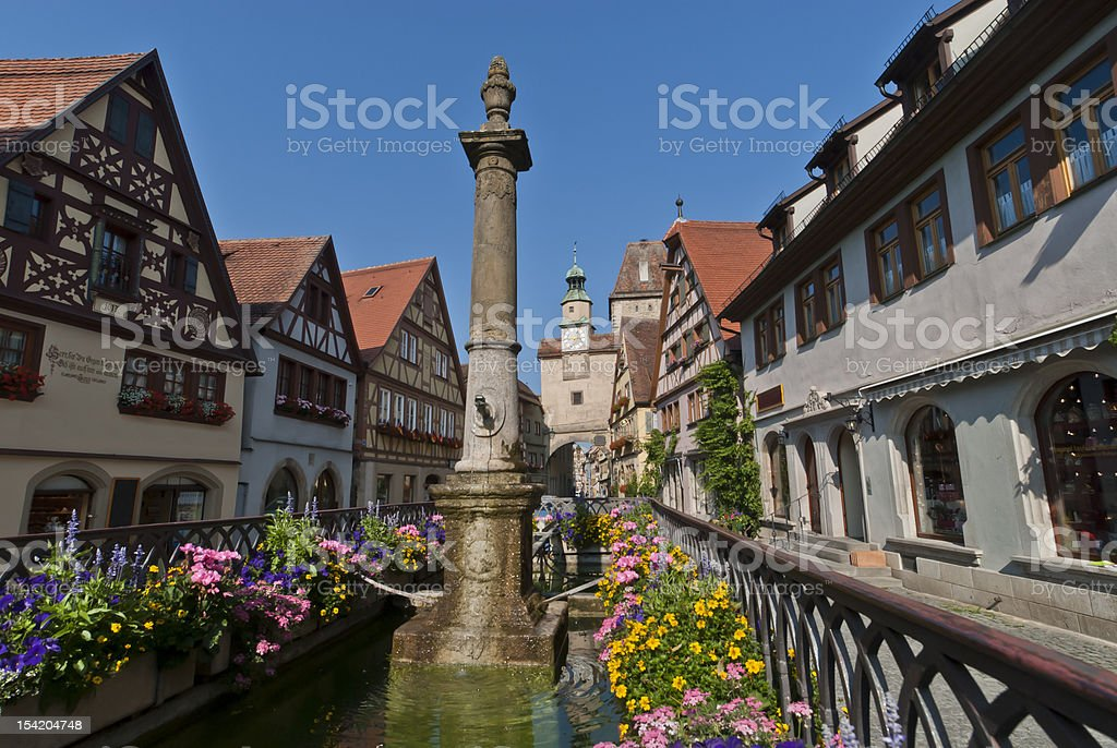 Rothenburg ob der Tauber, Bavaria, Germany, medieval town. Roederbrunnen. royalty-free stock photo