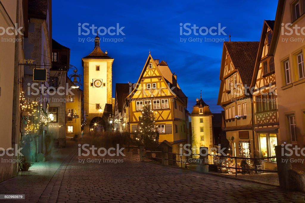 Rothenburg ob der Tauber by night stock photo