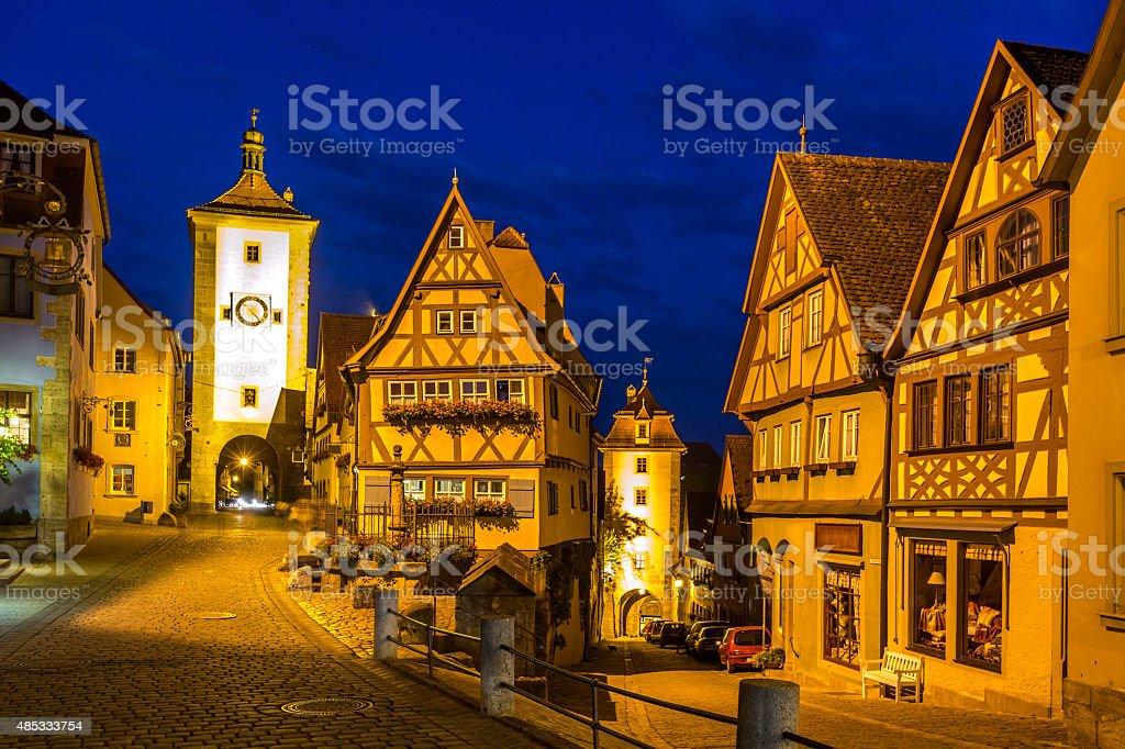 Rothenburg ob der Tauber Germany at dusk stock photo