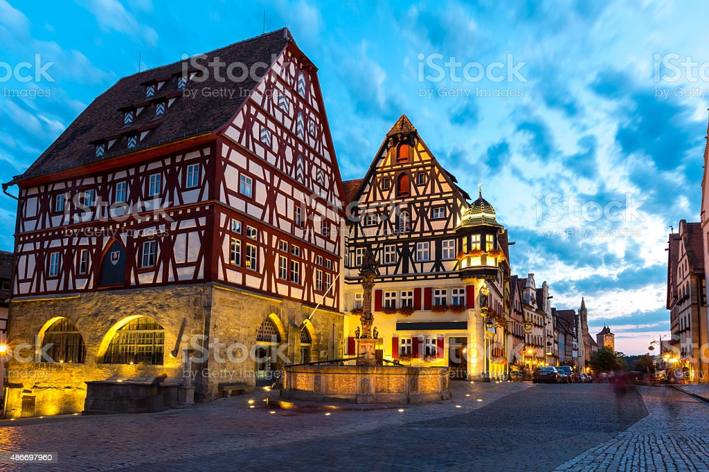 Rothenburg ob der Tauber Germany at dusk stock photo