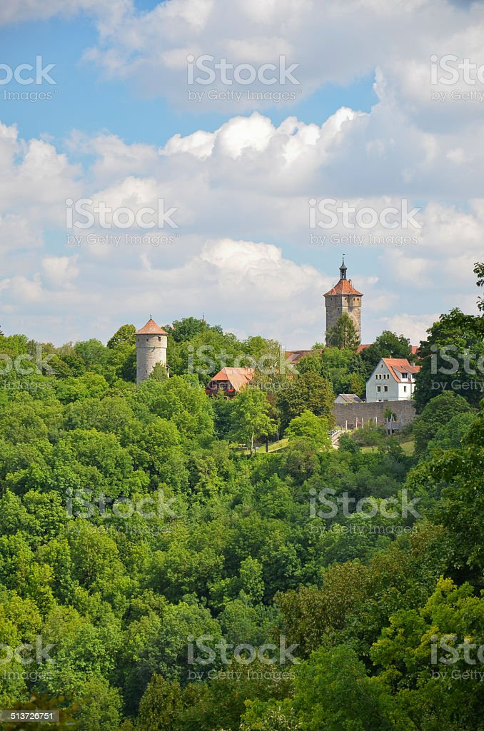 Rothenburg ob der Tauber, view towers stock photo