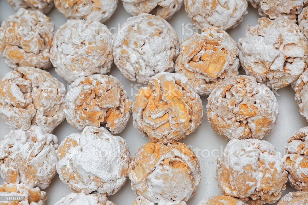 Rothenburg schneeballen (snowball) pastry with sugar powder stock photo