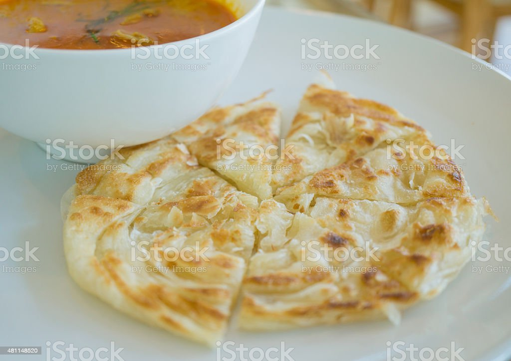 Roti and chicken curry set stock photo