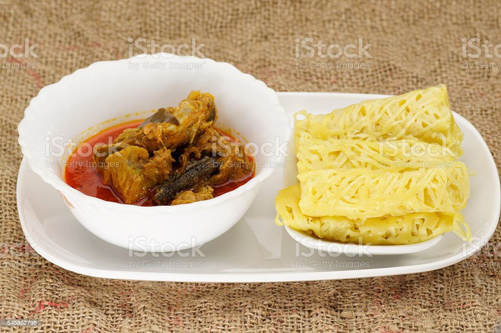 Roti Jala and Chicken Curry stock photo