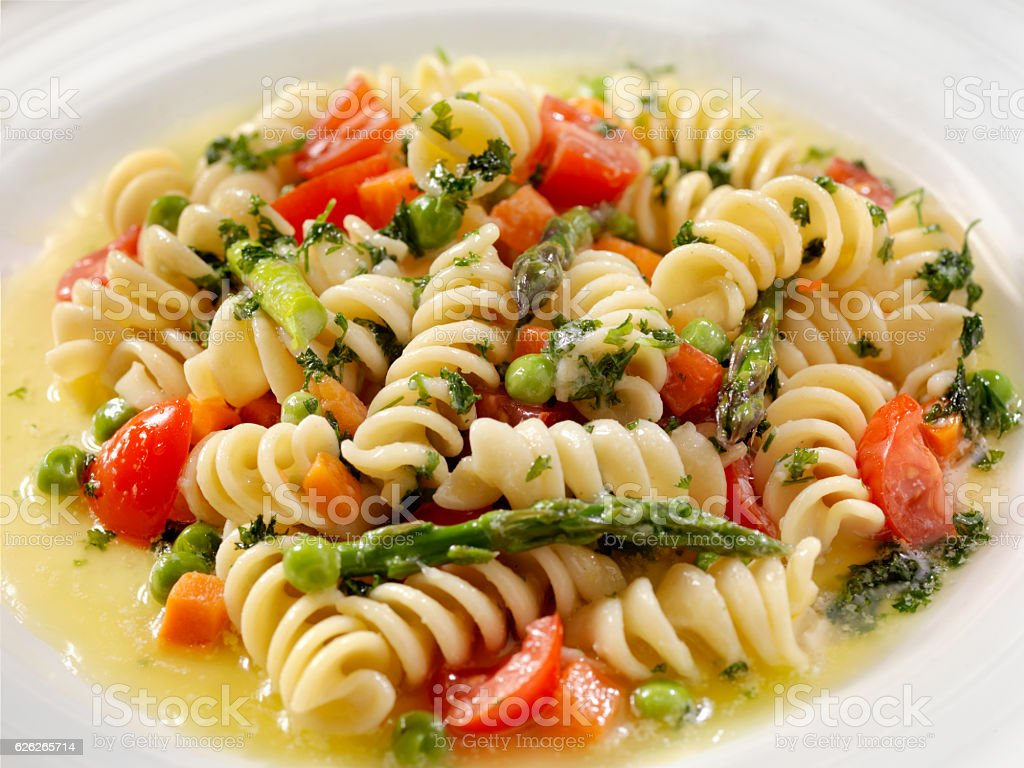 Rotini Primavera in a Browned Butter and Garlic Sauce stock photo