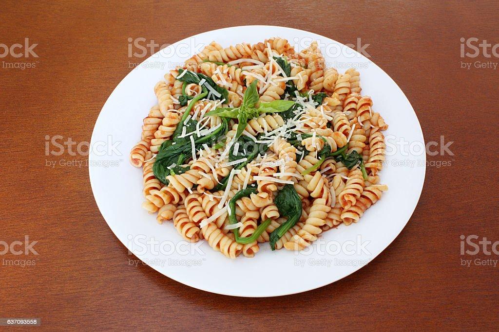Rotini With Marinara Sauce and Basil stock photo