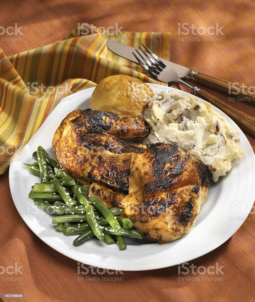 Rotisserie Chicken Dinner with Mashed Potatoes royalty-free stock photo