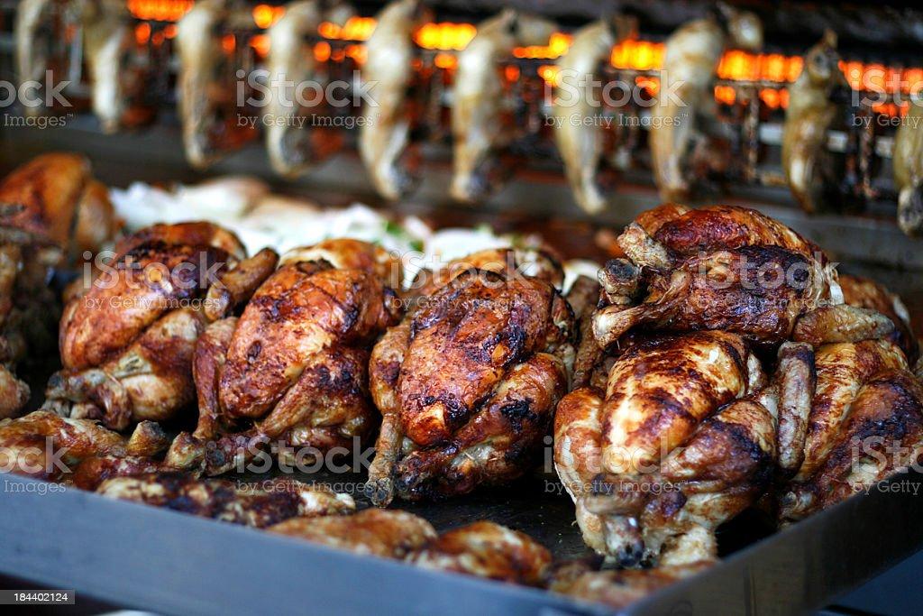 rotisserie chicken royalty-free stock photo