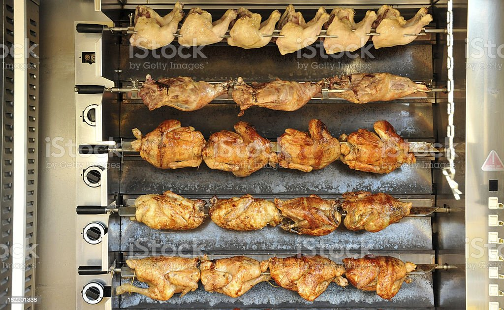 Rotisserie chickens being spit roasted at a French street market royalty-free stock photo