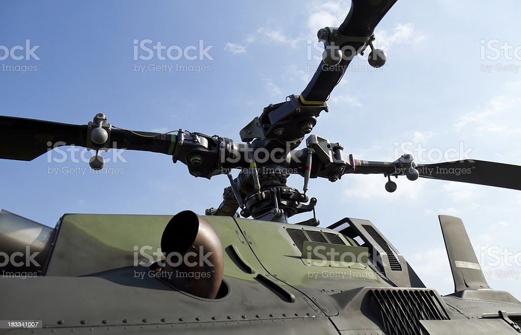 Rotor Close-Up of Military Helicopter stock photo