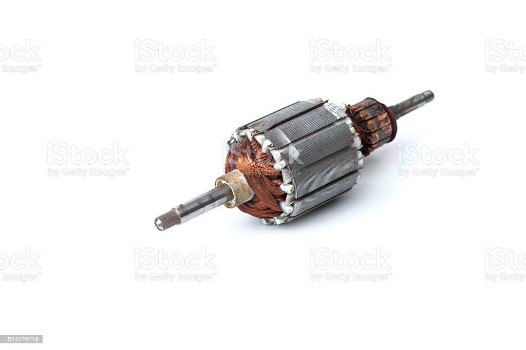 Rotor of electric motor close-up, isolated on white background stock photo