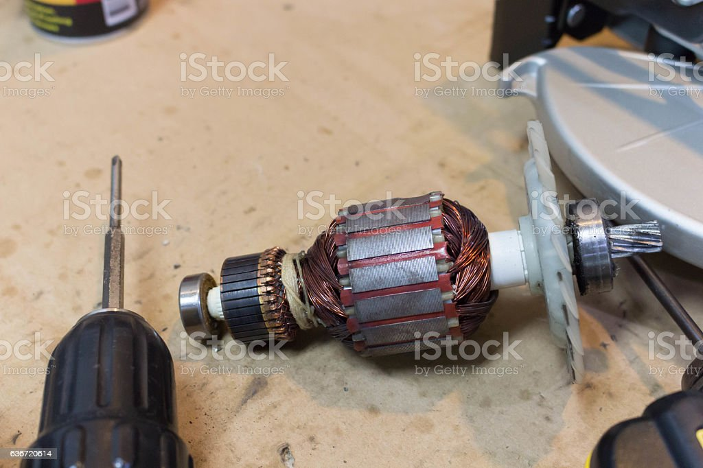 Rotor of electric motor spare parts in  power tool stock photo