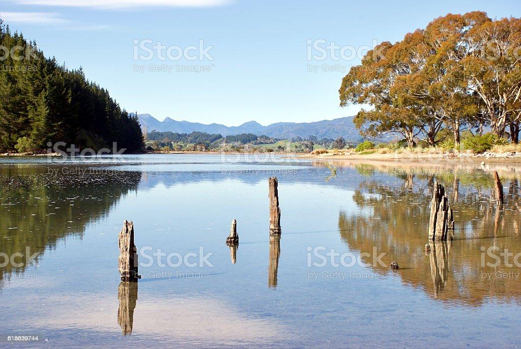 Rototai Reflections, Takaka, Golden Bay, New Zealand stock photo