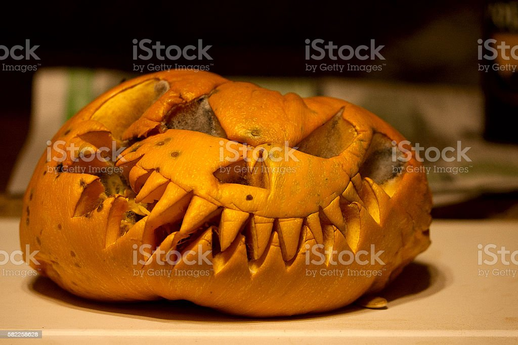 rotted halloween Pumpkin stock photo