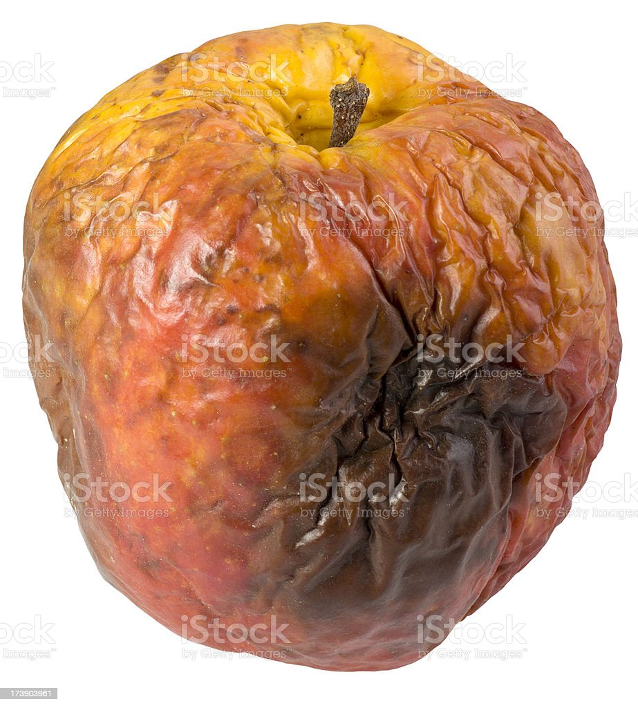 Rotten apple(clipping path) stock photo