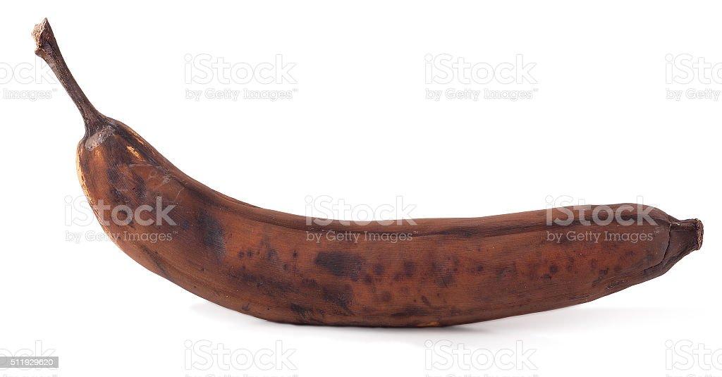 Rotten banana isolated on white background stock photo