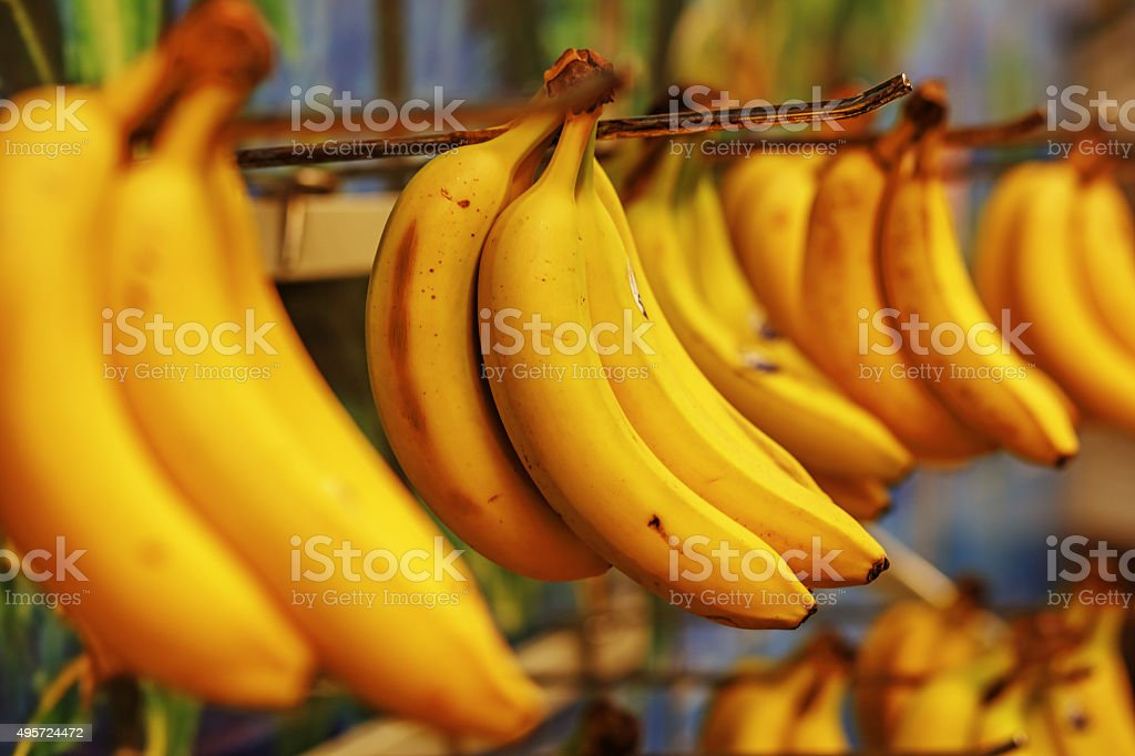 Rotten bananas sold in supermarkets in the Third World stock photo
