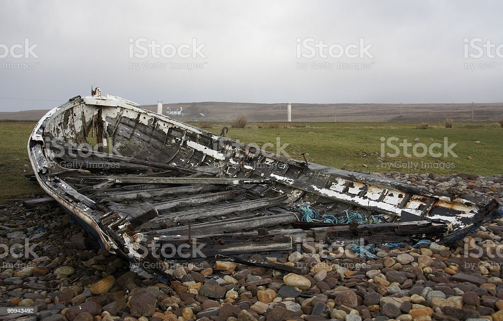 rotten boat in Scotland royalty-free stock photo