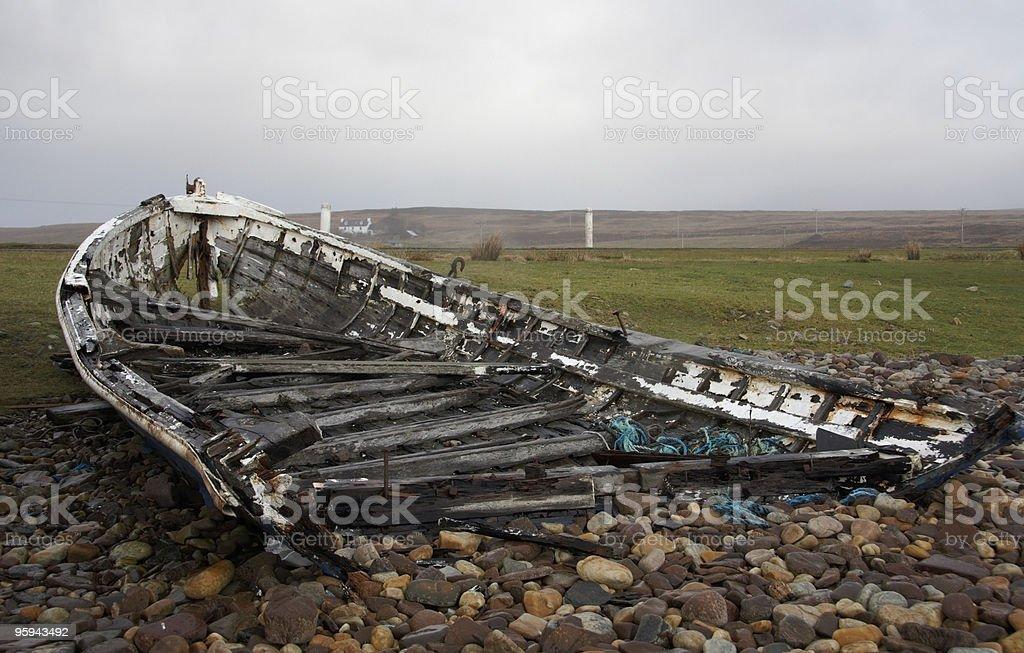 rotten boat in Scotland stock photo