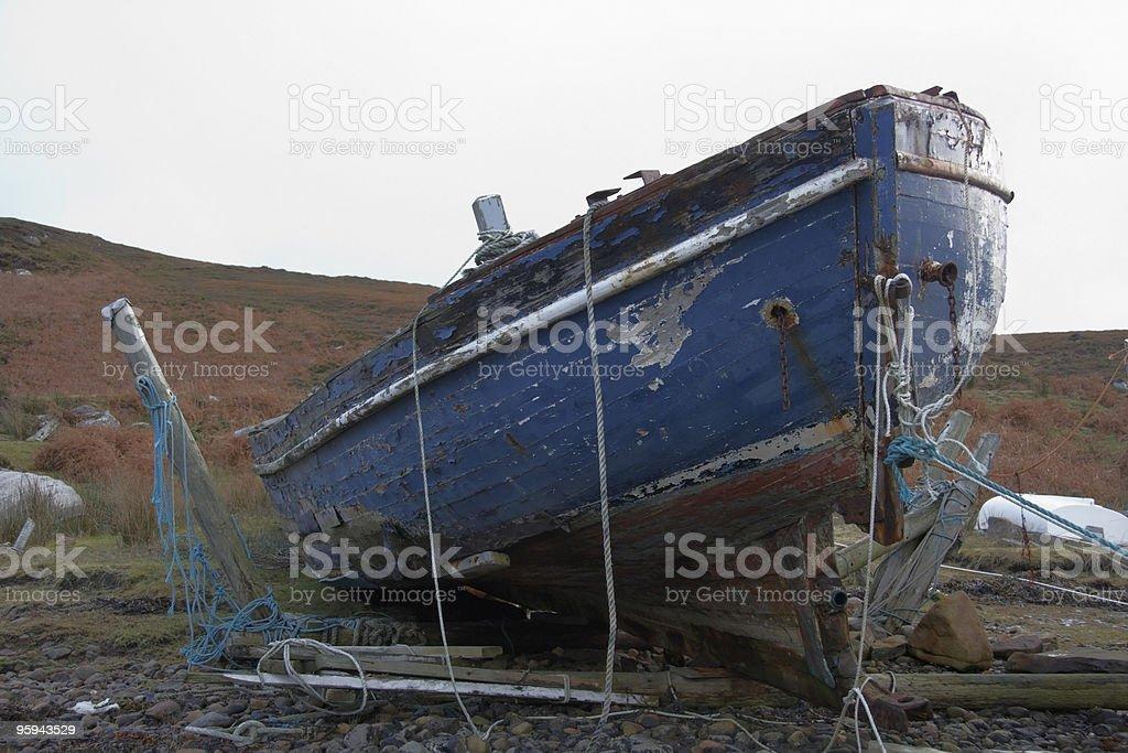 rotten boat in Scotland royalty-free stock photo