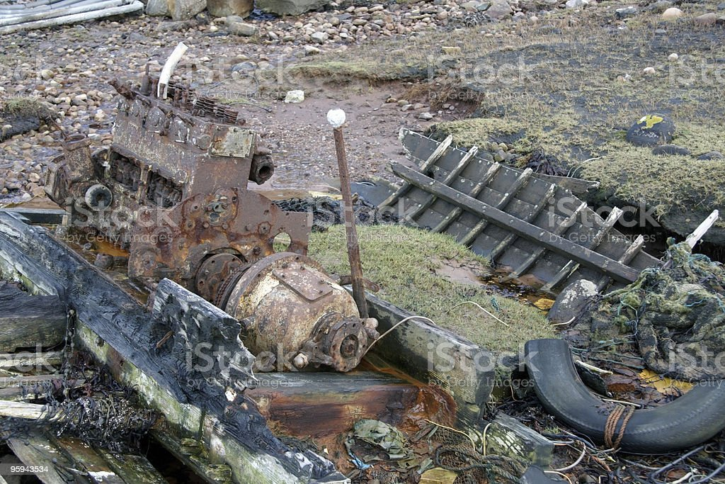 rotten boat with engine stock photo