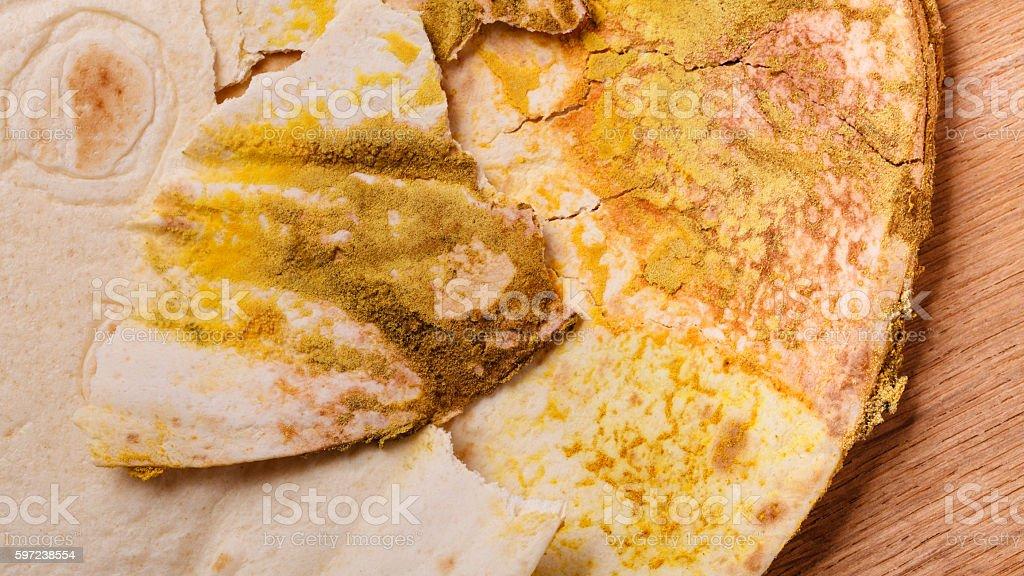 Rotten bread on table. stock photo