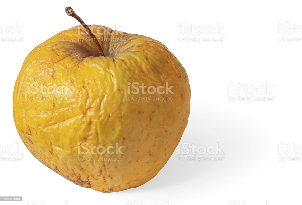 Rotten dry disgusting apple on white with shadow royalty-free stock photo