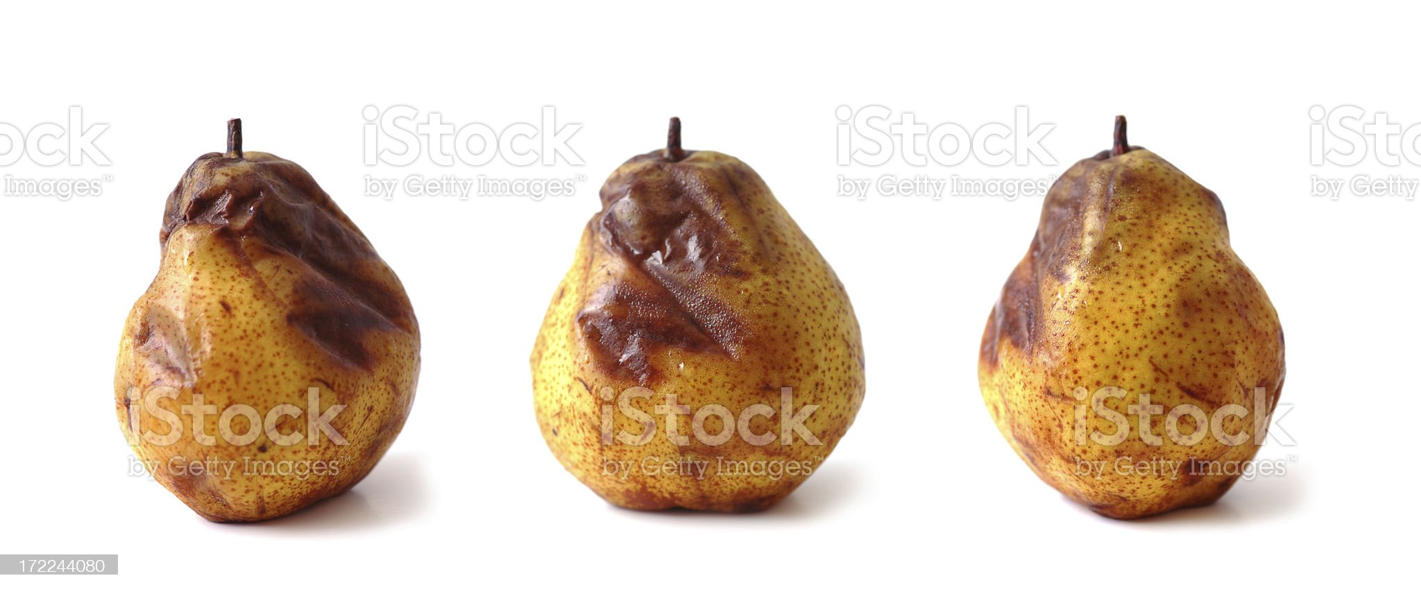 rotten pear in three positions royalty-free stock photo
