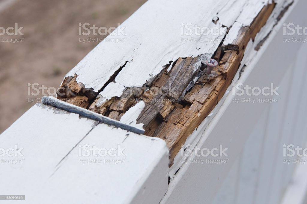 Rotten Wood Railing stock photo