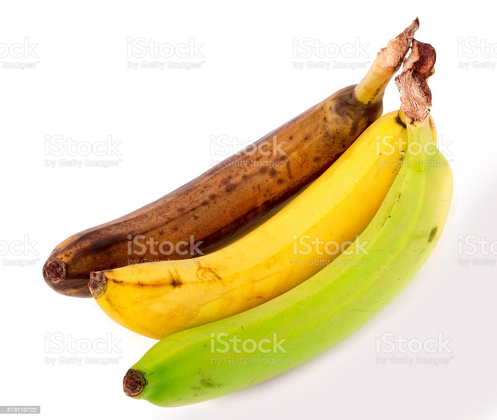 rotten yellow and green banana isolated on white background stock photo
