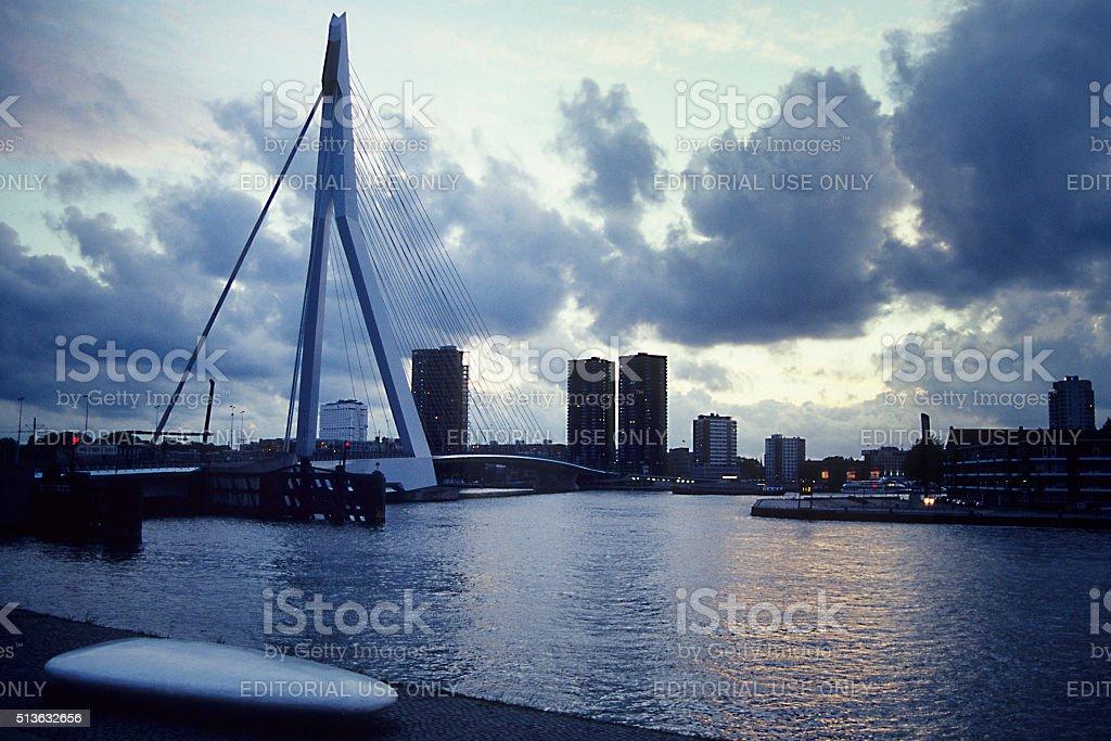 Rotterdam at dusk stock photo