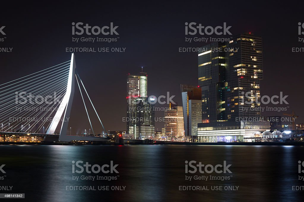 Rotterdam at Night over the river Meuze stock photo