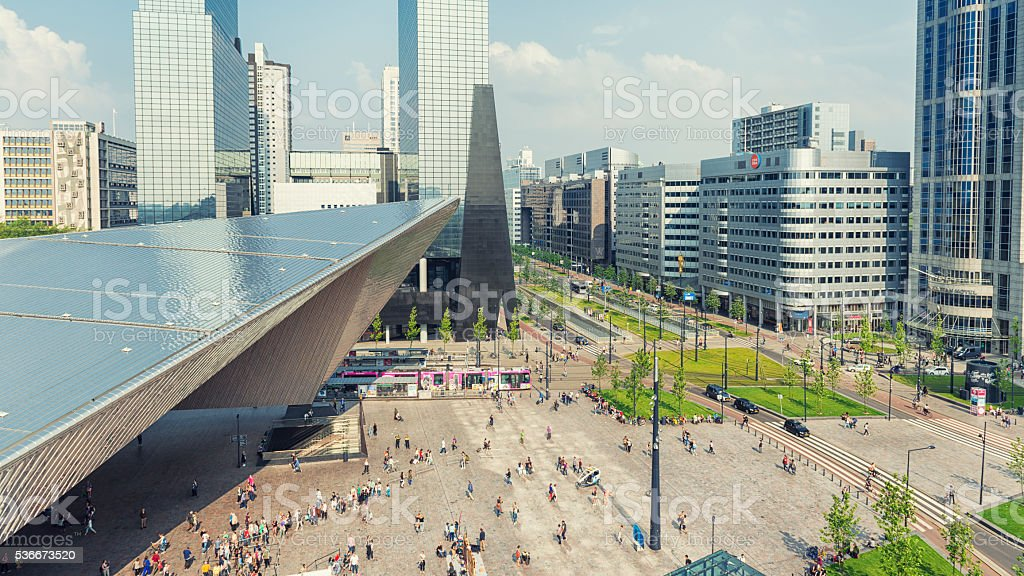 Rotterdam central station and Weena Avenue stock photo