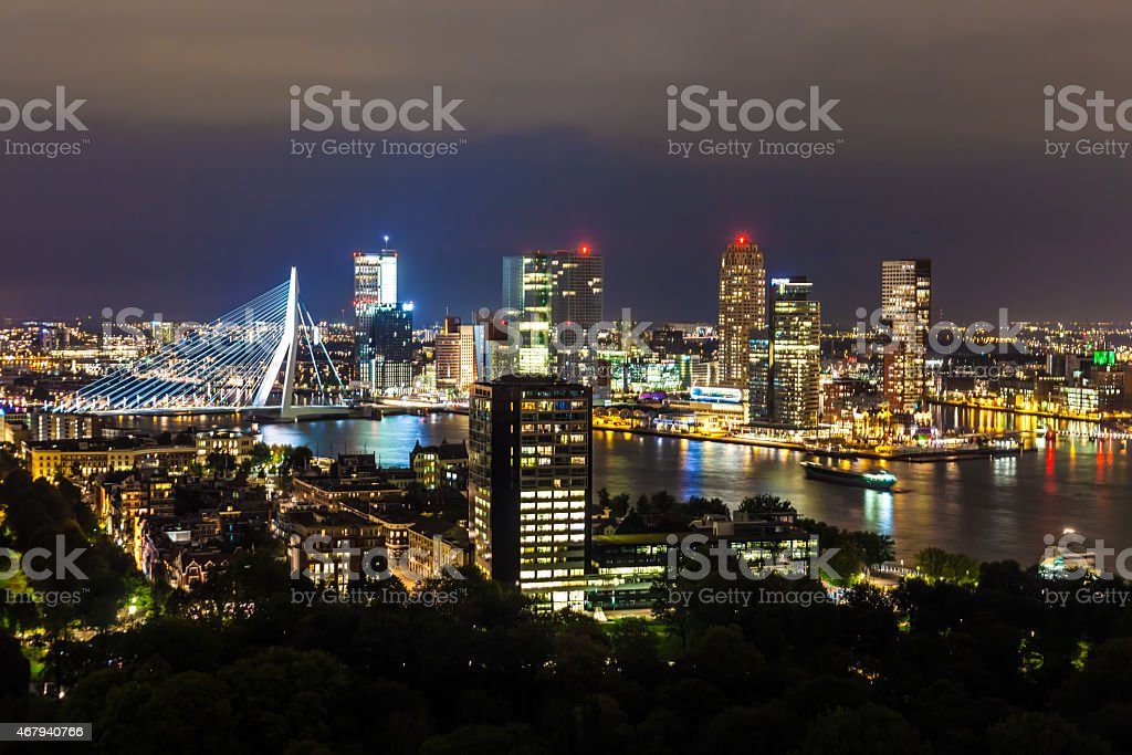 Rotterdam city with industry harbour by night stock photo