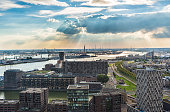 Rotterdam city with industry harbour