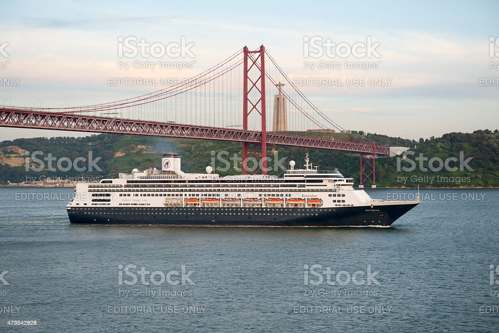 MS Rotterdam cruise ship departing Lisbon, Portugal stock photo