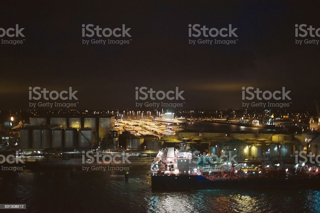 Rotterdam Harbor at Dawn stock photo