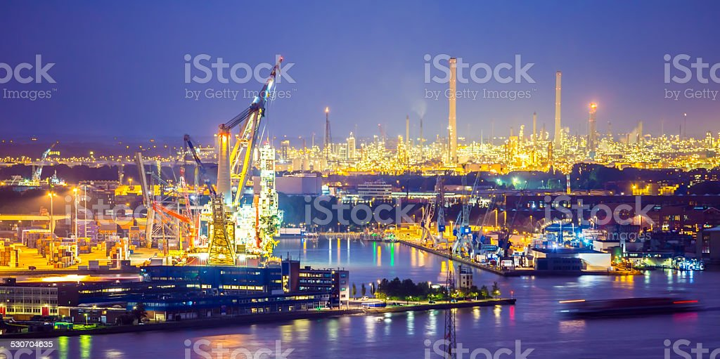 Rotterdam industry by night stock photo