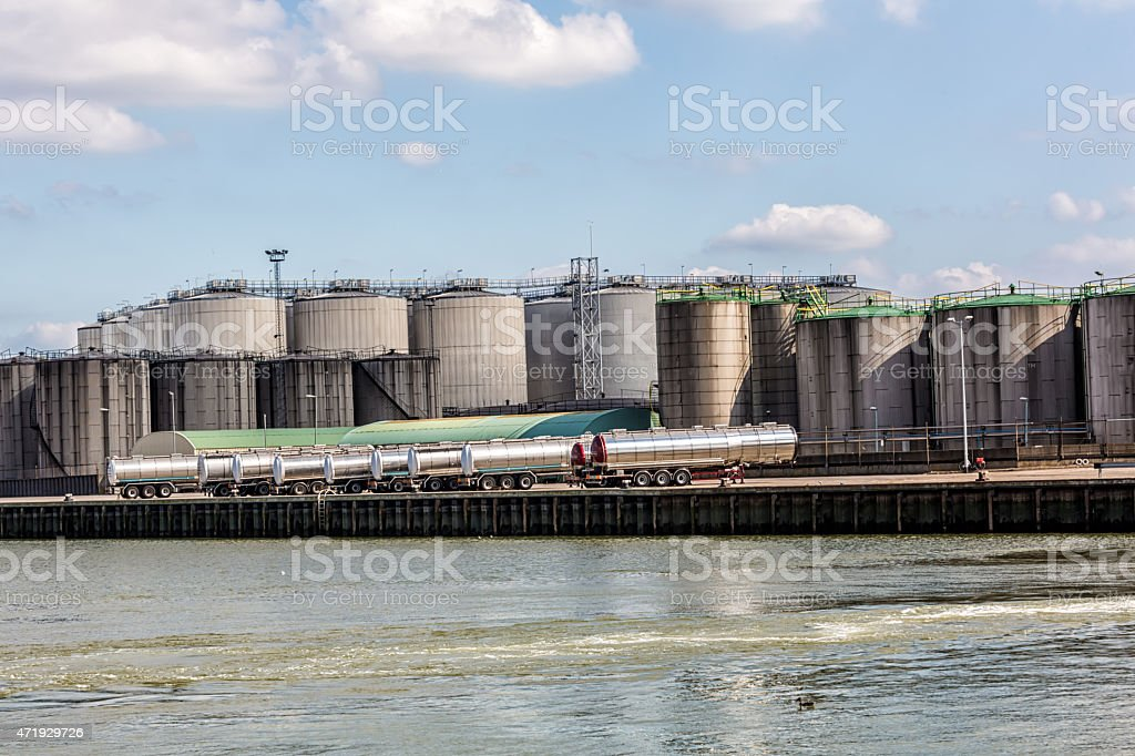 Rotterdam industry with silos stock photo