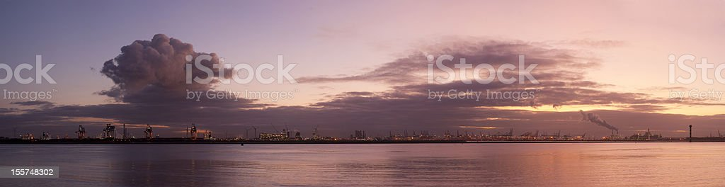 Rotterdam port at evening royalty-free stock photo