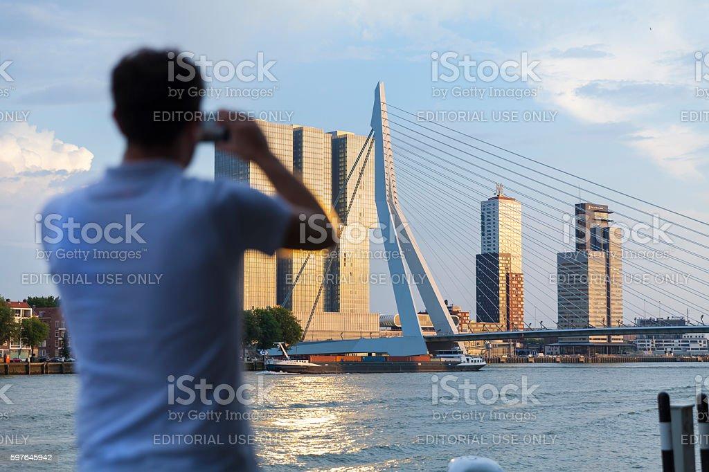 Rotterdam skyline at sunset, Netherlands stock photo