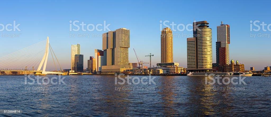 Rotterdam skyline at sunset stock photo