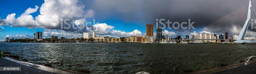 Rotterdam skyline panoramic view stock photo