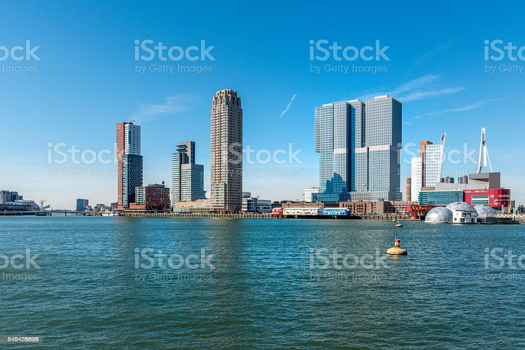 Rotterdam skyline seen from the river. stock photo